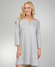 Ellen Tracy Polyester Knit 3/4 Sleeve Night Shirt in Heather Gray