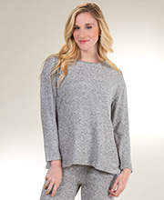 La Cera Long Sleeve Rayon Blend Top in Heather Gray