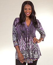 Plus Tunics - 1X La Cera 3/4 Sleeve Pleated Poly Blend in Pinstripe Plum