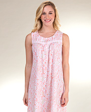 Aria Sleeveless Cotton Knit Nightgown in Peach Paisley