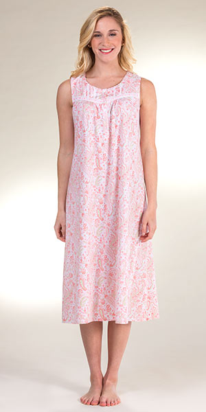 d9269729b2 Aria Sleeveless Cotton Knit Nightgown in Peach Paisley