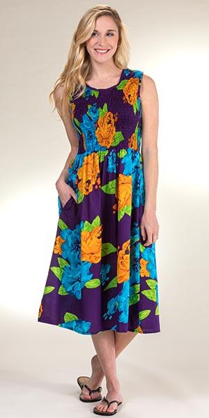 c4962b82b Metropolitan Sleeveless Smocked Cotton Sundress in Festive Floral