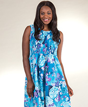 Metropolitan Plus Size Sleeveless Cotton Smocked Sundress in Gentle Waters