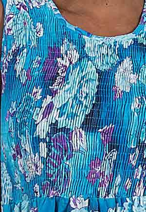 f370516e6 Metropolitan Plus Size Sleeveless Cotton Smocked Sundress in Gentle Waters  · Sleeveless Cotton Long Dress - Smocked Sundress in Gentle Waters