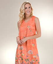 La Cera Rayon Sleeveless Casual Long Dress in Peach Charm