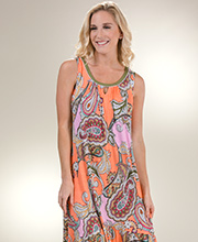 09f1d55d95 Long Ellen Tracy Sleeveless Rayon Nightgown in Paisley Colorblock