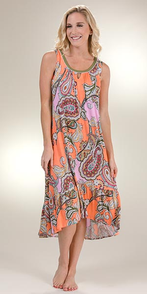 Long Ellen Tracy Sleeveless Rayon Nightgown in Paisley Colorblock b4547d156