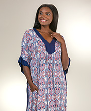 Loungers for Women - Ellen Tracy Rayon V-Neck Long Plus Kaftan in Liberty