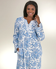 Zip Front Caftan - Aria Long Cotton Polyester Lounger in Paisley Motif