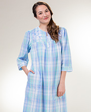 Plus Miss Elaine Long Seersucker Zip Front Robe in Blue Green Plaid