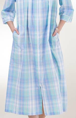 Miss Elaine Long Seersucker Snap Front Robe in Blue Green Plaid 295eae7ea