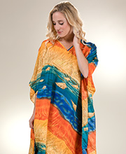 Winlar Polyester Microfiber Long Caftan Lounger in Sunset Dunes