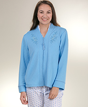 Miss Elaine Lightweight Zip Front Bed Jacket  - Diamond Blue