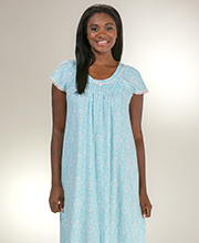 Miss Elaine Cotton-Rich Flutter Sleeve Ballet Nightgown - Turquoise Ikat