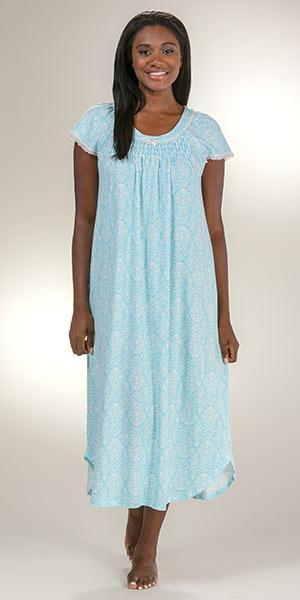 0bd5955af288 Miss Elaine Cotton-Rich Flutter Sleeve Ballet Nightgown - Turquoise Ikat