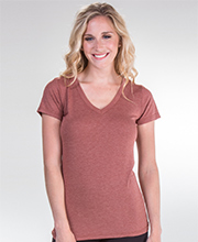 Cap Sleeve V-Neck Comfort Blend Tee in Clay