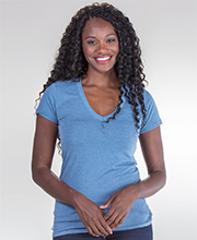 Nostalgia Cap Sleeve V-Neck Comfort Blend Tee in Blue