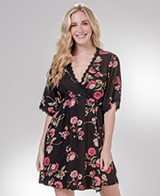 Nostalgia Faux Wrap Rayon Dress in Mauve Floral