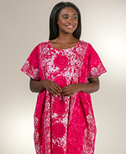 Plus Cotton Kaftans - One Size Fits Most Loungers in Pink Atlantis
