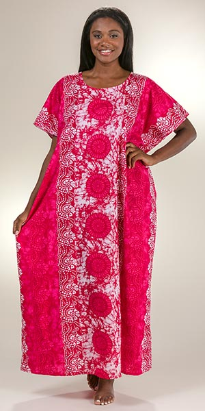 d847c420bd5 Plus Cotton Kaftans - One Size Fits Most Loungers in Pink Atlantis