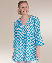 Tunics by Peppermint Bay - Pintucked Cotton Beach Cover Up in Allure