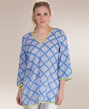 Peppermint Bay Cotton 3/4 Sleeve V-Neck Beach Cover Up - Tete-A-Tete