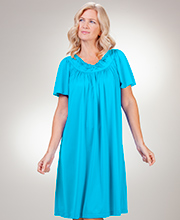 Shadowline Short Sleeve Waltz Petals Nightgown in Turquoise