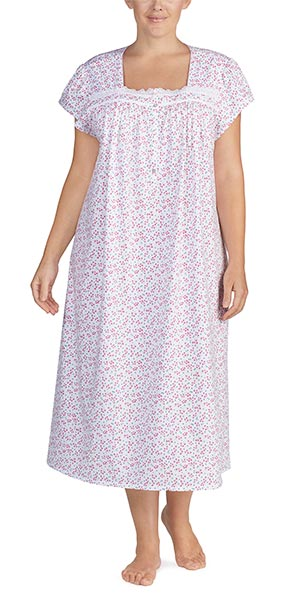 Plus Eileen West Cotton Knit Short Sleeve Square Neck Nightgown in Ruby Wisp 56d1581ed