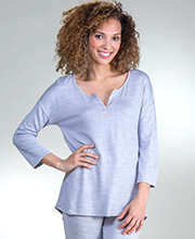 Ellen Tracy PJs - Polyester Knit Pajama Set - 3/4 Sleeve Tee and Long Pants in Heather Gray