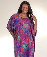 Women's Rayon Bali Batiks One Size Long Kaftans in Ruby Garden