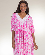 Rayon Caftans - Ellen Tracy Knit Long Lounger Kaftan in Party Pink