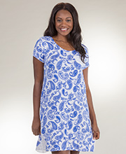 Sleep Shirt by Ellen Tracy - Rayon Knit Short Sleeve in Paisley Royalty