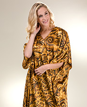 Satin Charmeuse One Size Winlar Caftan in Caramel Safari