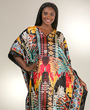 Winlar Plus Size Long Satin Kaftan in Digital Diva