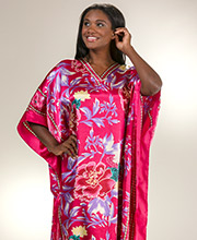 Plus Size Winlar Polyester Charmeuse Long Caftan Dress in Fuchsia Tropic