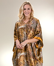 Plus Winlar Poly Satin Animal Print Kaftan Lounger in Jungle Journey