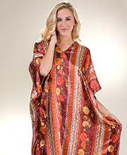 Women's Satin Charmeuse One Size Winlar Caftan in Native Spice