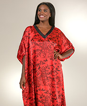 Plus Size Kaftans - Winlar Satin Poly Charmeuse Caftan Lounger in Ruby Empire
