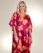 Long One Size Winlar Satin Charmeuse Poly Caftan in Morning Flight