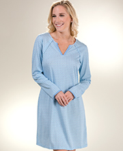 Sesoire Night Shirts - Long Sleeve Cotton/Rayon in Blue Diamonds