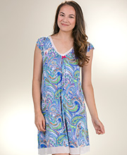 Short Ellen Tracy Flutter Sleeve Rayon Nightgown in Abstract Wonder