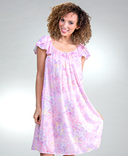 Miss Elaine Gowns - Flutter Sleeve Short Tricot Nightgown in Pretty Pansies