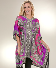 Sante Plus Kaftan Tops - V-Neck One Size Polyester Caftan in Berry Odyssey