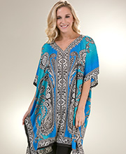 Women's Short Kaftans - V-Neck Sante One Size Caftan Top - Lake Odyssey