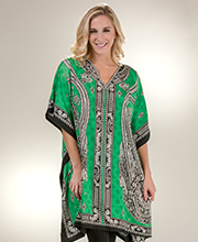 Women's One Size Short Kaftan - Sante Tunic Top in Lime Odyssey
