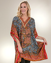 Women's Short Kaftans - V-Neck Sante One Size Caftan Top - Ruby Fortune
