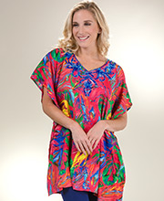 Short Caftans - Sante One Size Polyester Kaftan Top in Tropical Party