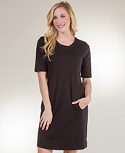 Plus Sesoire Short Sleeve House Dress in Black