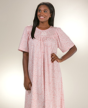 Calida Cotton Nightgowns - Short Sleeve Cotton Knit in Pink Arbor