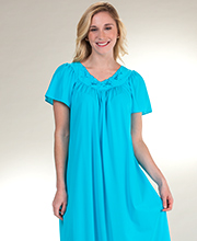 Shadowline Petals Long Gown - Flutter Sleeve Nightgown in Turquoise
